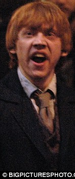 Tired? Rupert was caught yawning on set as the cast filmed late at night in London