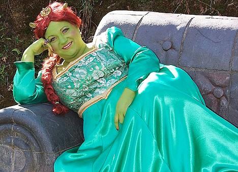 And the bride wore... Christine England dressed up as Princess Fiona