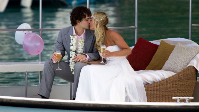 Sealed with a kiss: Lee and Denise push the boat out