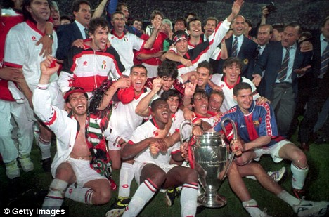 Milan defeat Barcelona in 1994 to lift the European Cup