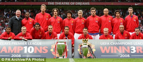 United show off their League and European trophies