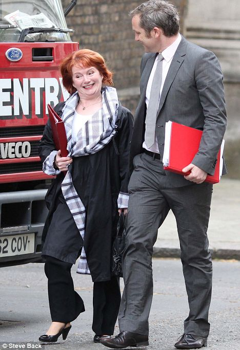 Communities Secretary Hazel Blears with James Purnell at her side today as she arrived in Downing Street for a Cabinet meeting