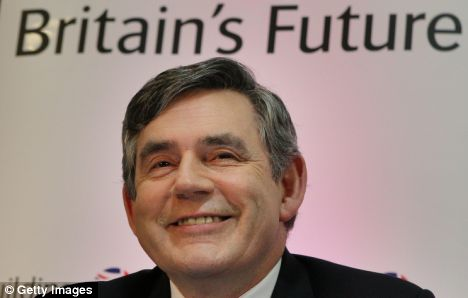 Gordon Brown with a forced smile