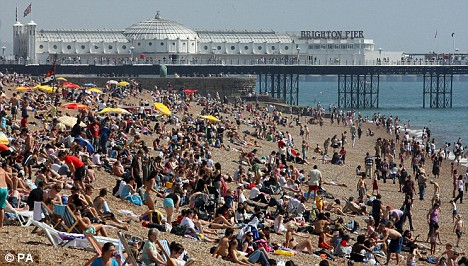 Southern England will experience the best of the weather, with thousands expected to flock to coastal spots like Brighton to bask in the sunshine