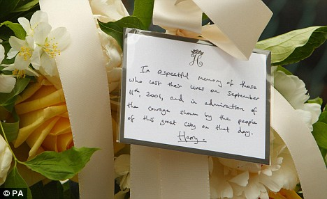 A close-up of the wreath laid by Prince Harry