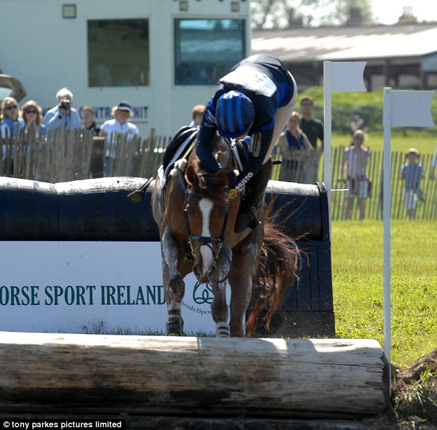 Whoa: Zara Phillips loses control of her horse at Tattersalls International Horse Trials