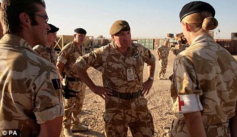 General Sir Richard Dannatt talks to troops in Afghanistan