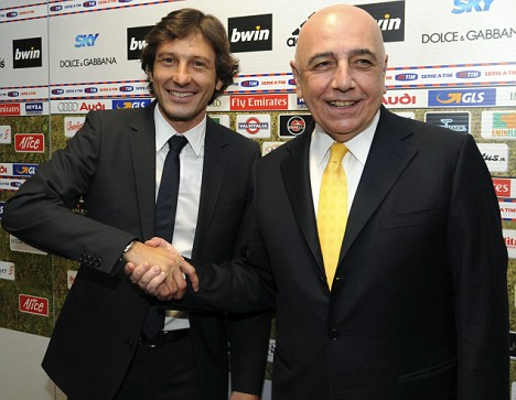 AC Milan general manager Adriano Galliani (right) welcomes Leonardo