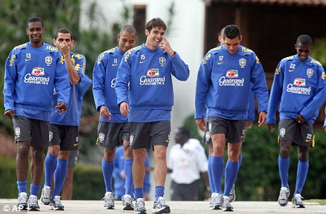 Brazil's soccer players Juan, front left, Daniel Alves, second left, Gilberto Silva, third left, Kaka, fourth left front, Lucio