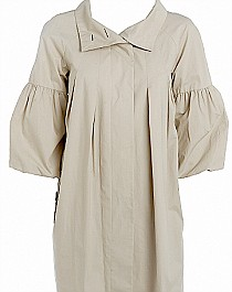 Stone-coloured swing mac with puff sleeves, £59.50, Marks & Spencer, 0845 302 1234