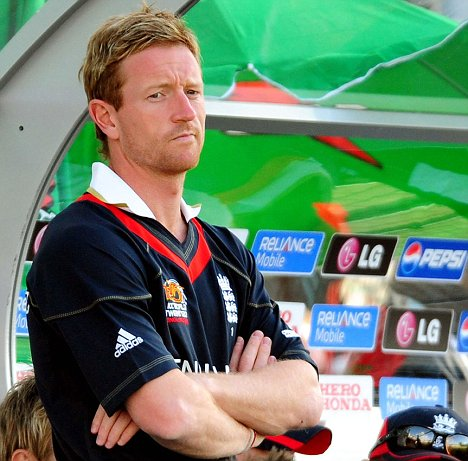 Dejected: England captain Paul Collingwood in the dugout