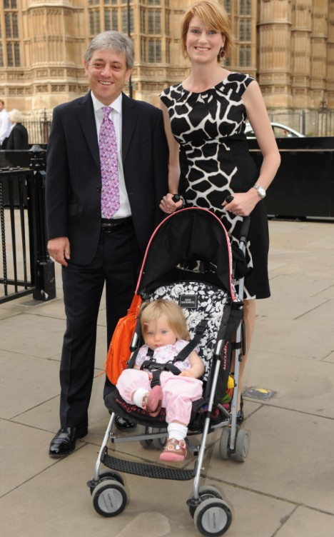 John Bercow arrives at Westminster with wife Sally and 14-month-old daughter, Jemima, ahead of the vote