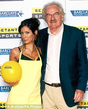 Des Lynam poses with actress Thaila Zucchi after joining Setanta