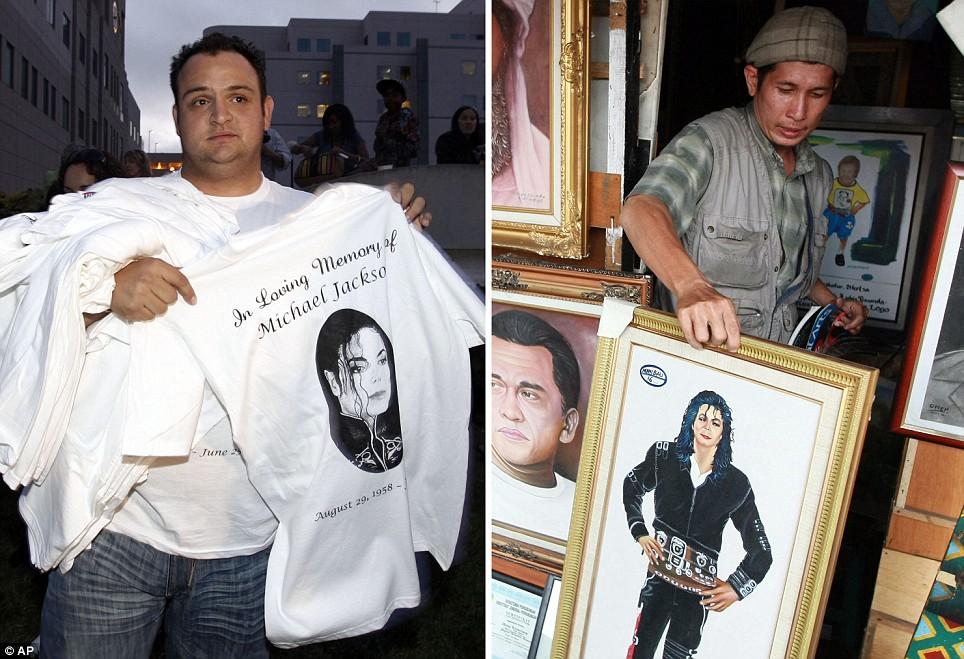 Kelvin Martinez sells Michael Jackson shirts outside the UCLA Medical Center