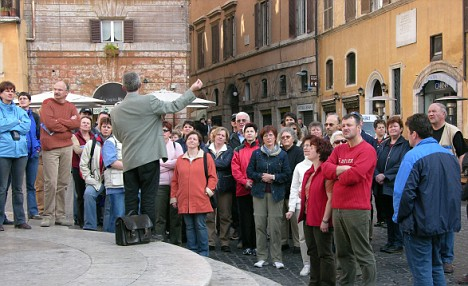 Tour group in Rome.