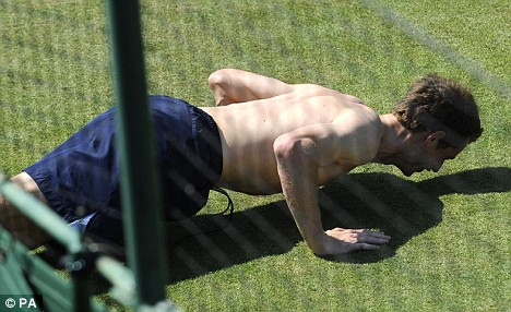 And rest... Murray puts his feet down following the workout