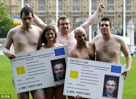 NO2I.D. campaigners stage a naked protest in Parliament Square in October 2005