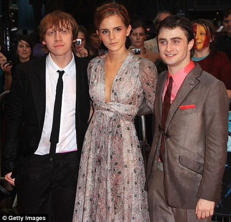 Rupert Grint, Emma Watson and Daniel Radcliffe at Harry Potter premiere