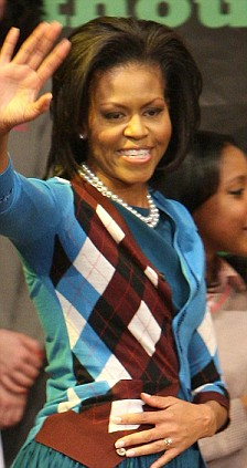 US First Lady Michelle Obama during a visit to the Elizabeth Garrett Anderson School in Islington