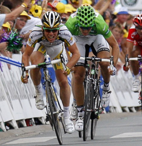 Mark Cavendish  crosses the finish line to win the 10th stage of the Tour de France ahead of Thor Hushovd