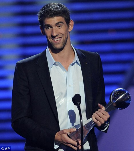 Michael Phelps accepts the best male athlete award at the ESPY Awards