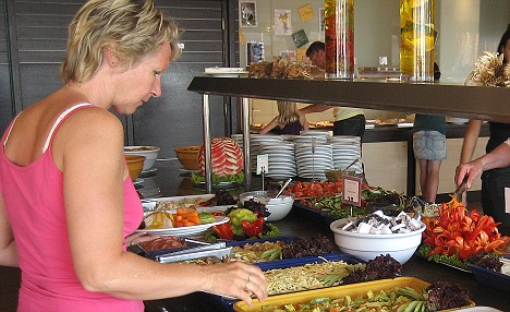 Salad bar shenanigans: Liz found that was more than enough to choose from...