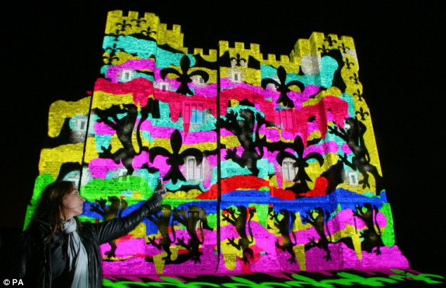 tests for light projections planned to mark the re-opening of the Great Tower of Dover Castle this weekend in Dover, Kent