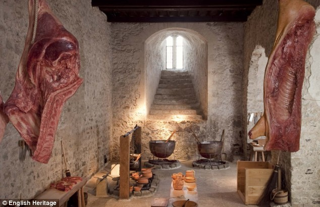 Eat, drink and be merry: Even the privy kitchen was recreated as it would have been in medieval times, complete with cuts of meat hanging from the ceiling