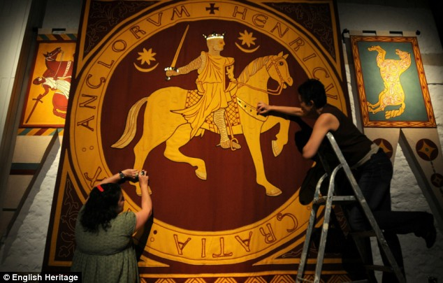 Back in time: Last-minute preparations take place as English Heritage prepare to re-open the great tower at Dover Castle to the public tomorrow. The interior was restored at a cost of £2.5million