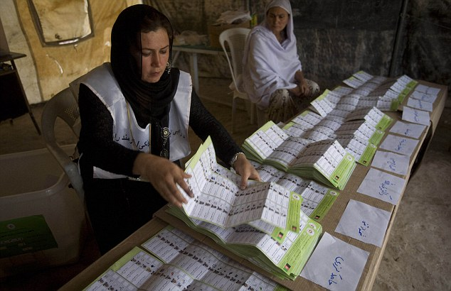The votes are in: Election workers count the ballots in Mazar-I-Sharif in northern Afghanistan