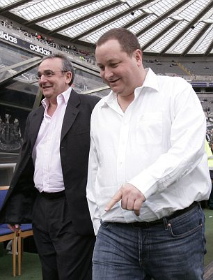 High spirits: Newcastle United owner Mike Ashley (right) and managing director Derek Llambias