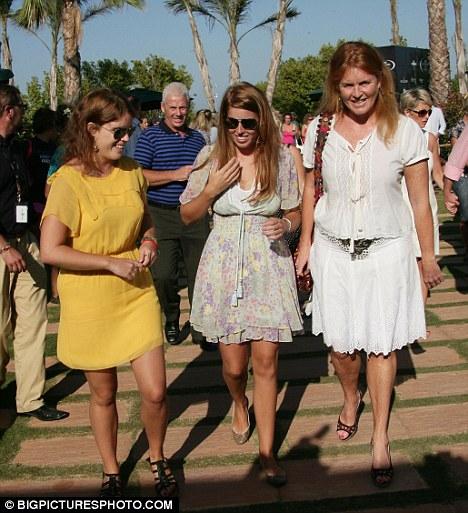 Princess Eugenie with sister Princess Beatrice and mother Sarah Ferguson