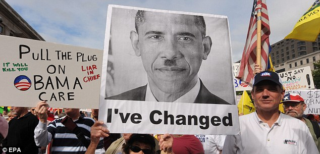 US President Barack Obama sports a mustache famously worn by German dictator Adolf Hitler