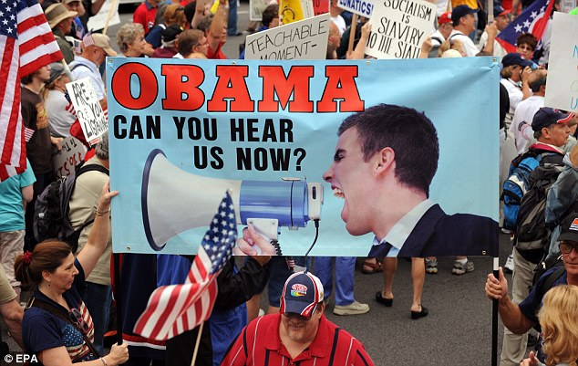 The heated demonstrations were organized by a Conservative group called the Tea Party Patriots