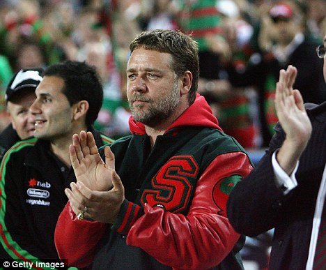 Showing good sport: Russell supports his team South Sydney Rabbitohss in Sydney last month. A couple weeks later members of his team were involved in a brawl