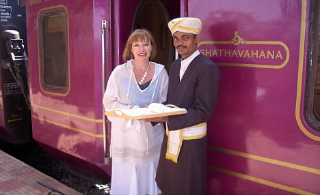 Viv Creegor is welcomed on board the Golden Chariot Train in Bangalore...