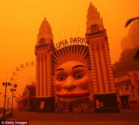 Red mist: The Luna Park themepark which is closed due to the dust cloud