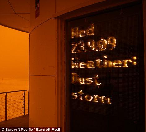 SYDNEY, AUSTRALIA: The dust storm over Bondi Beach on the 23rd September 2009.