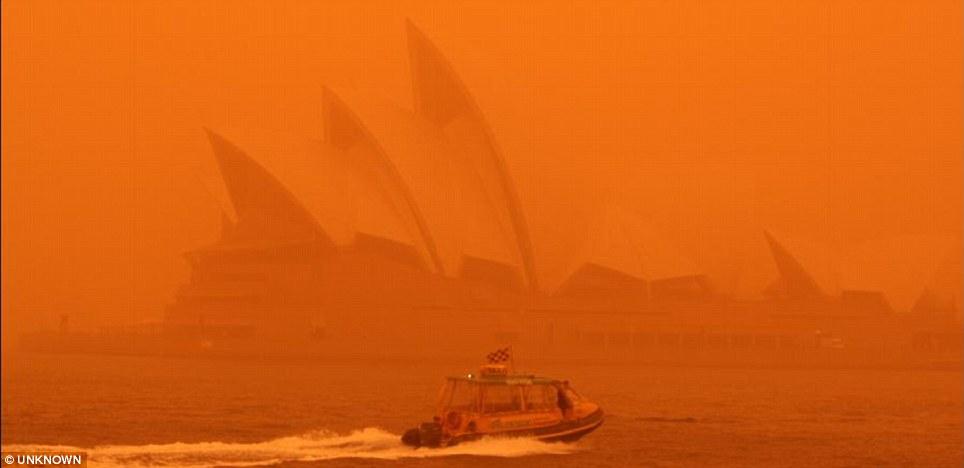 A haze blankets Sydney Harbour