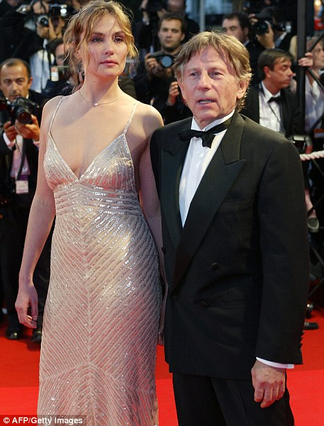 Roman Polanski and his WIFE Emmanuelle Seigner at the gala screening of the film 'The pianist'  during the 55th Cannes film festival