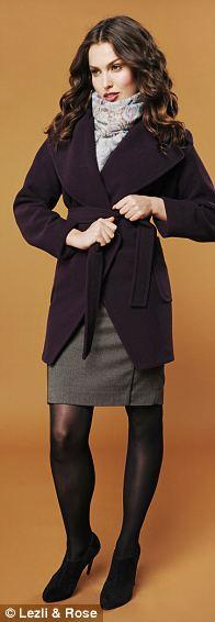 Coat, £599, Nicole Farhi at Fenwick; scarf, £89, brora.co.uk; Charnos tights, £8, figleaves.com; boots, £95, dune.co.uk