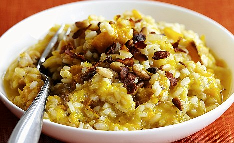 Roasted punpkin and sage risotto with pinenuts and smoky bacon recipe