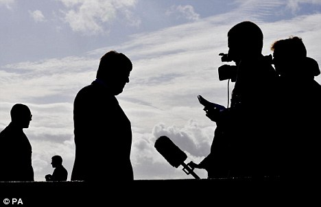 Nick Griffin conducting an interview in Essex yesterday