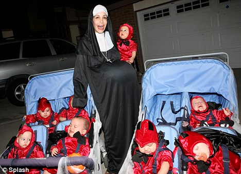 Trick or treat: Neighbours will need to lay on extra stocks of candy to feed this brood