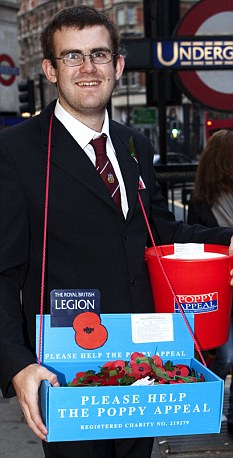 Volunteer: Stuart Brookes selling poppies for the Legion