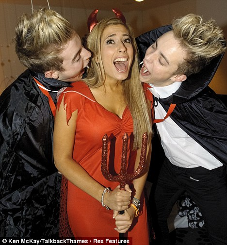John and Edward Grimes with Stacey Solomon.  The X Factor Finalists enjoy a Halloween Party