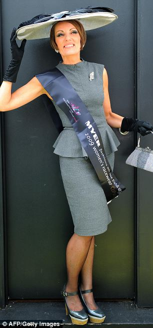 """Sarah Kelly displays her winning entry in the """"Fashions in the Fields"""" competition"""