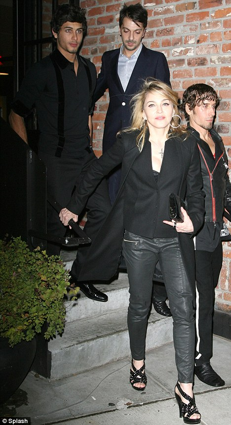 Madonna and Jesus Luz leaving the Valentino: The Last Emperor DVD Launch Celebration at the Standard Hotel in New York City
