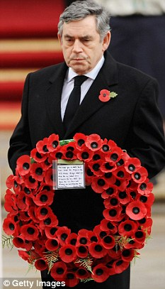 Gordon Brown at the Remembrance Sunday service at the Cenotaph on Whitehall