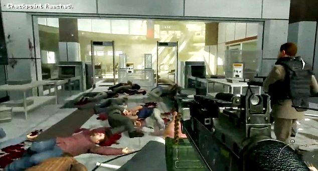 The aftermath of the airport scene where massacred civilians lie strewn on the terminal floor